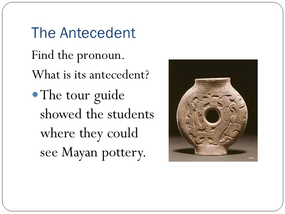 The tour guide showed the students where they could see Mayan pottery.