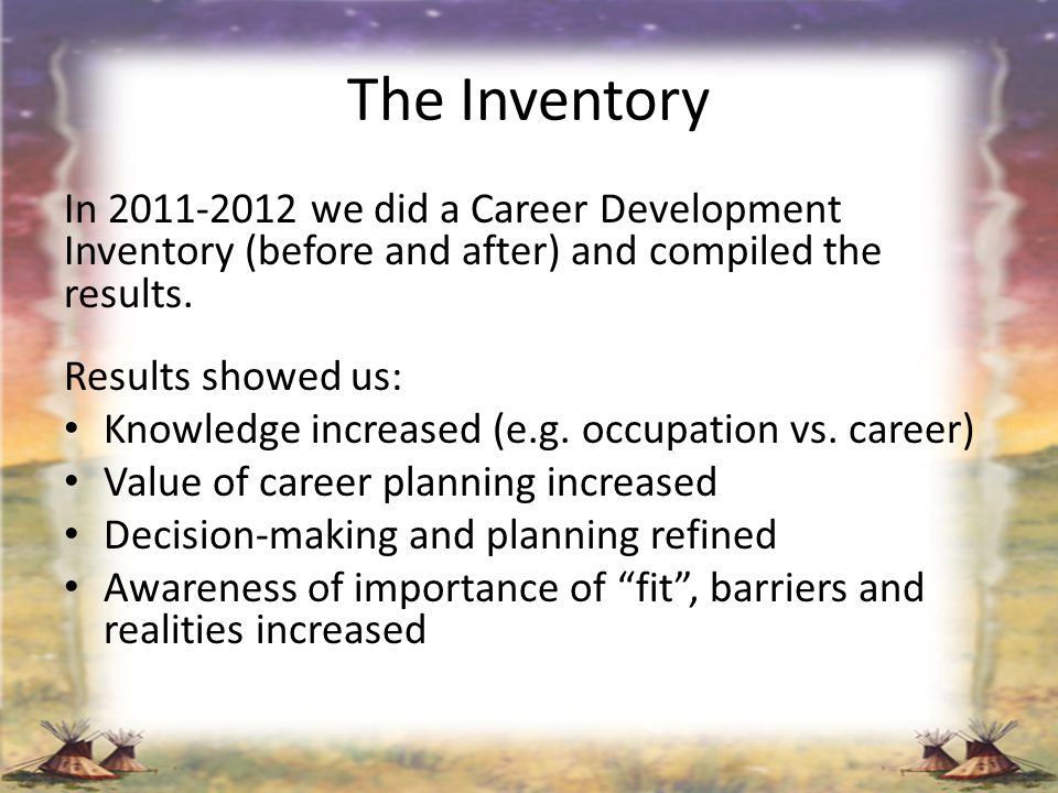 The Inventory In 2011-2012 we did a Career Development Inventory (before and after) and compiled the results.