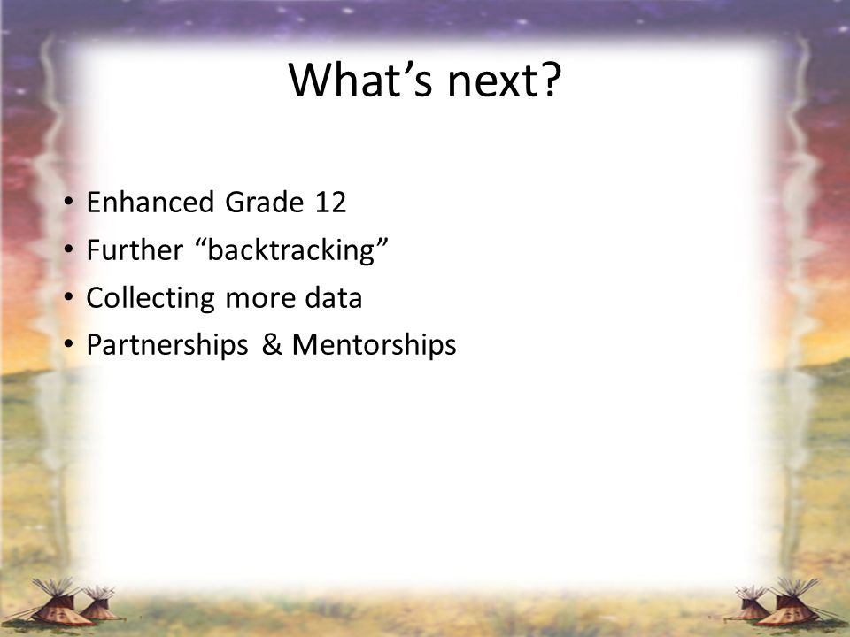 What's next Enhanced Grade 12 Further backtracking