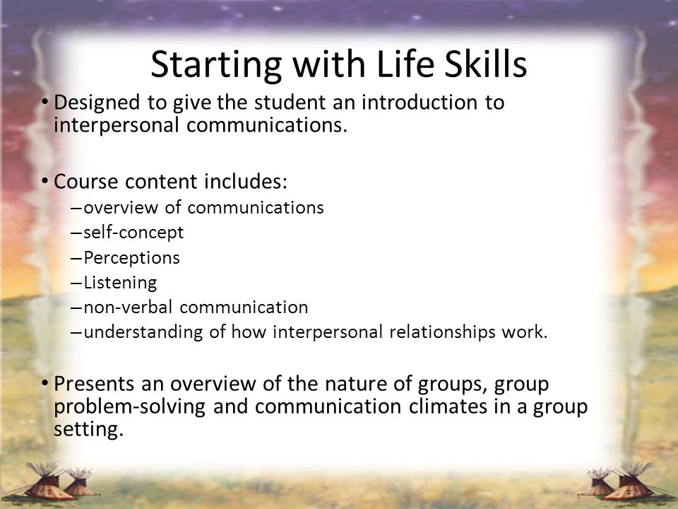 Starting with Life Skills
