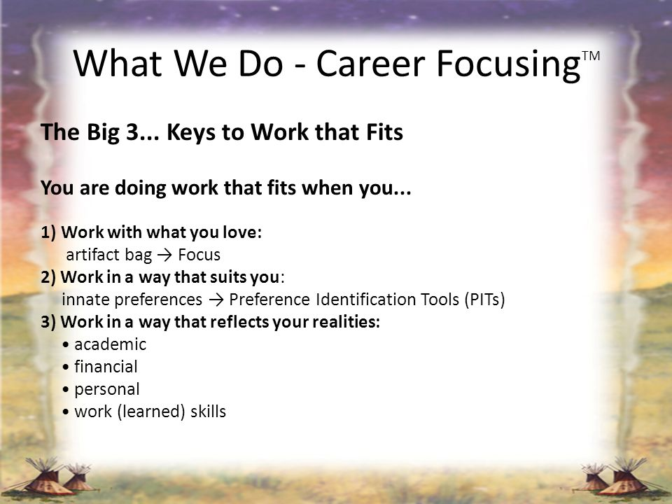 What We Do - Career FocusingTM