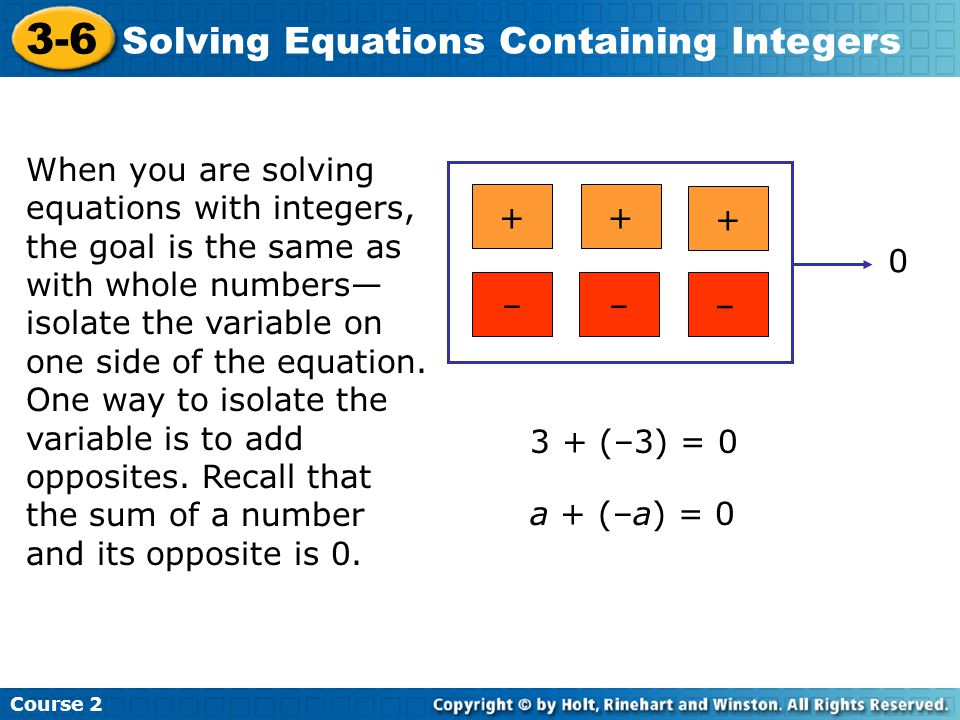 3-6 Solving Equations Containing Integers
