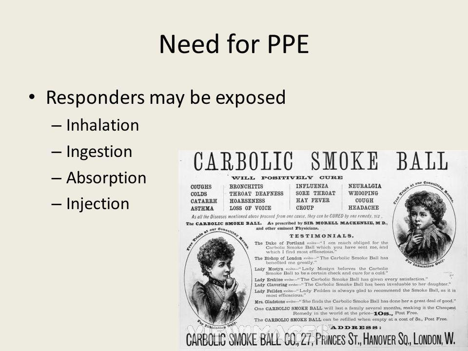 Need for PPE Responders may be exposed Inhalation Ingestion Absorption