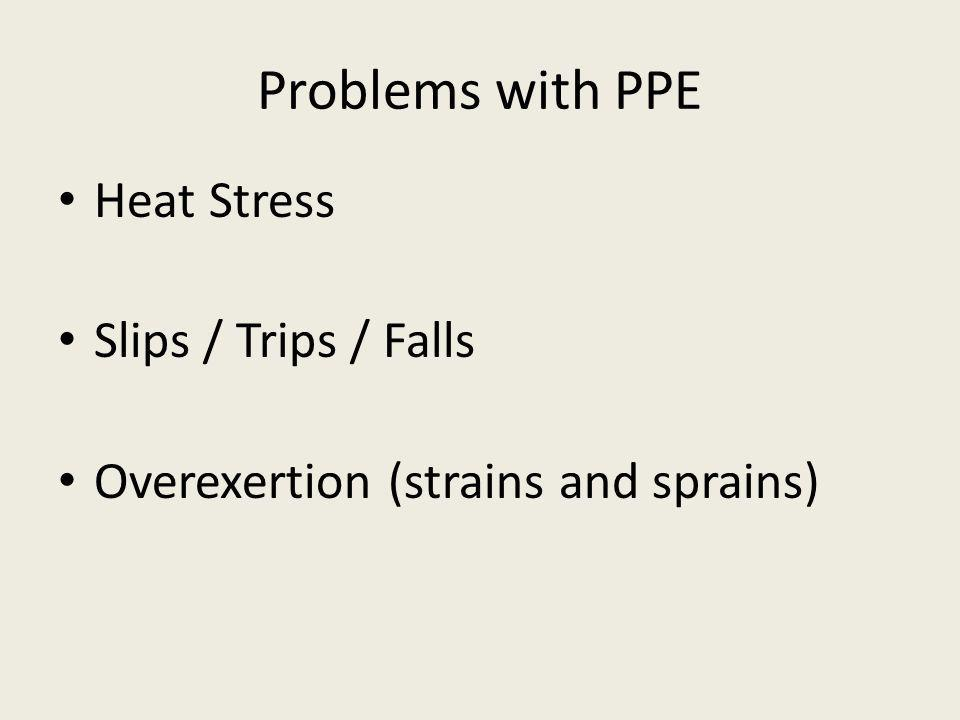 Problems with PPE Heat Stress Slips / Trips / Falls