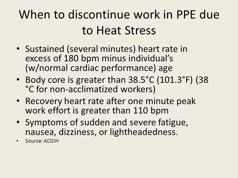 When to discontinue work in PPE due to Heat Stress