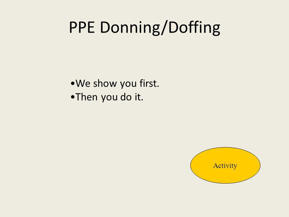 PPE Donning/Doffing •We show you first. •Then you do it. Activity