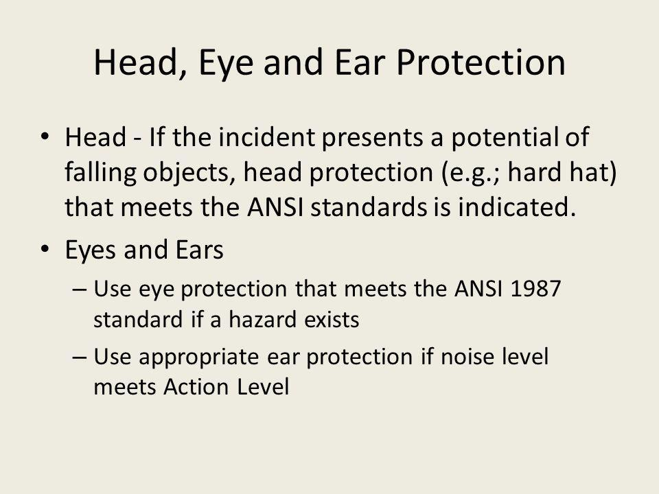 Head, Eye and Ear Protection