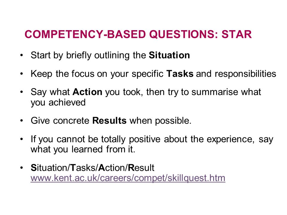 COMPETENCY-BASED QUESTIONS: STAR