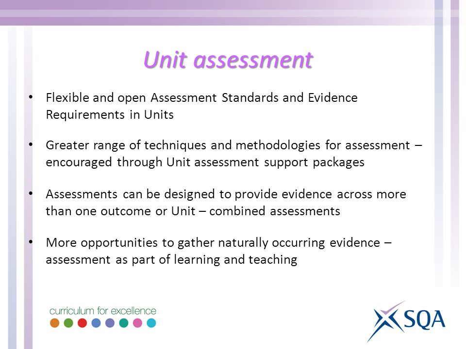 Unit assessment Flexible and open Assessment Standards and Evidence Requirements in Units.