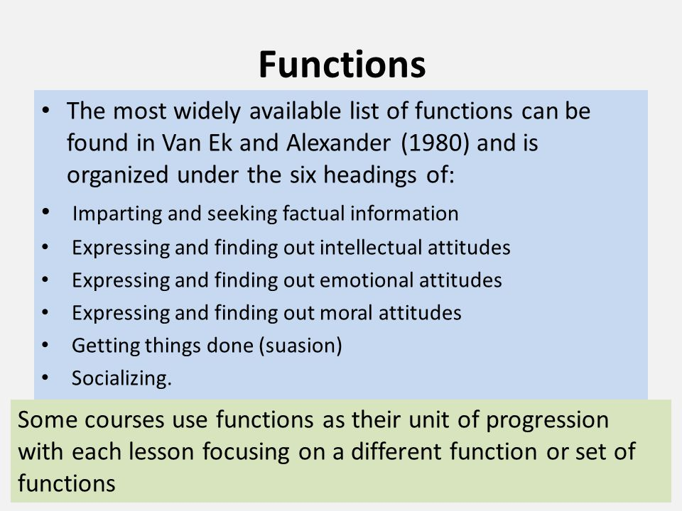 Functions The most widely available list of functions can be found in Van Ek and Alexander (1980) and is organized under the six headings of: