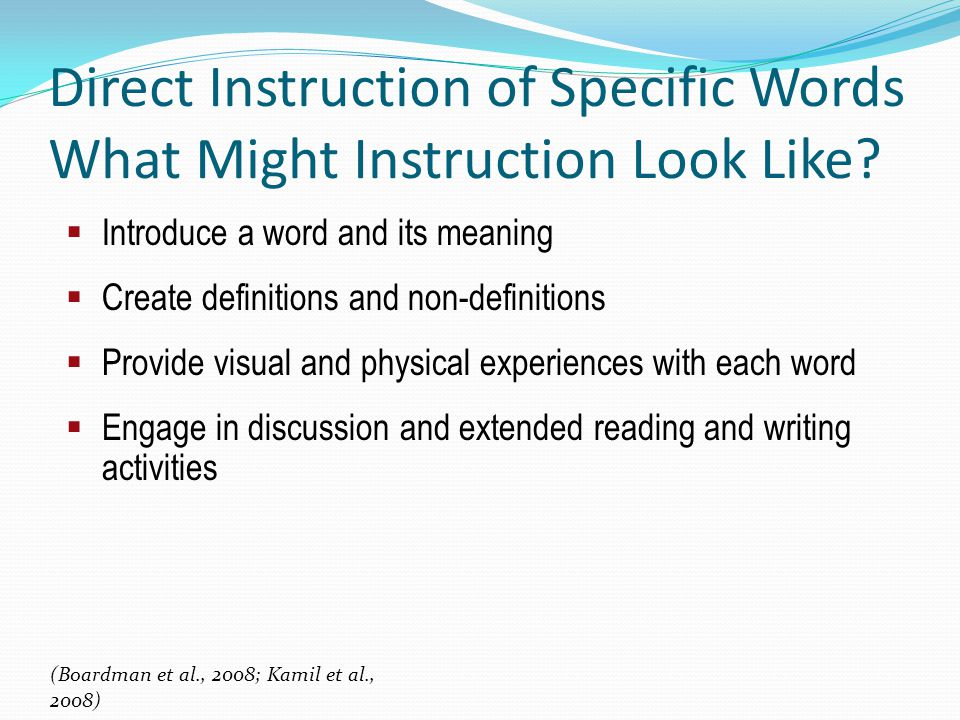 Direct Instruction of Specific Words What Might Instruction Look Like