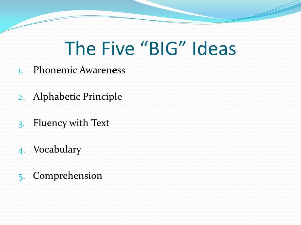 The Five BIG Ideas Phonemic Awareness Alphabetic Principle
