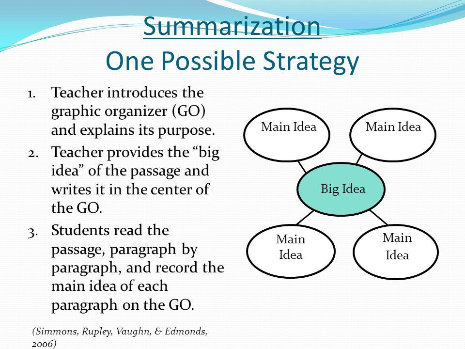 Summarization One Possible Strategy