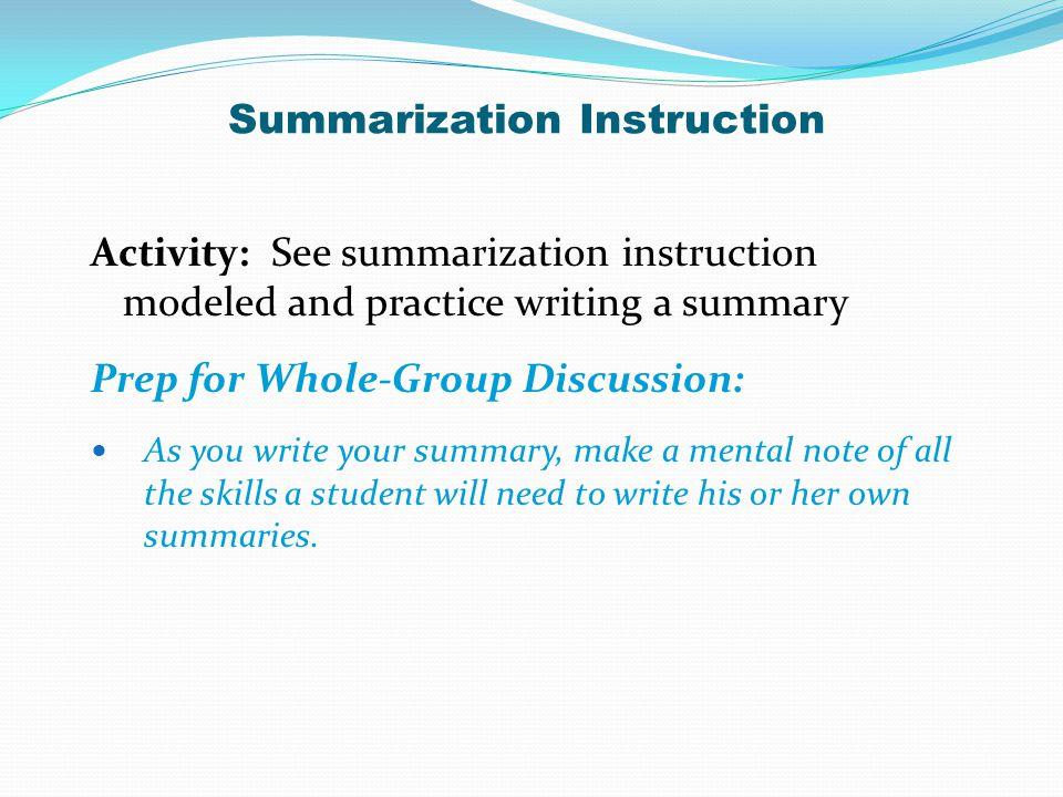 Summarization Instruction
