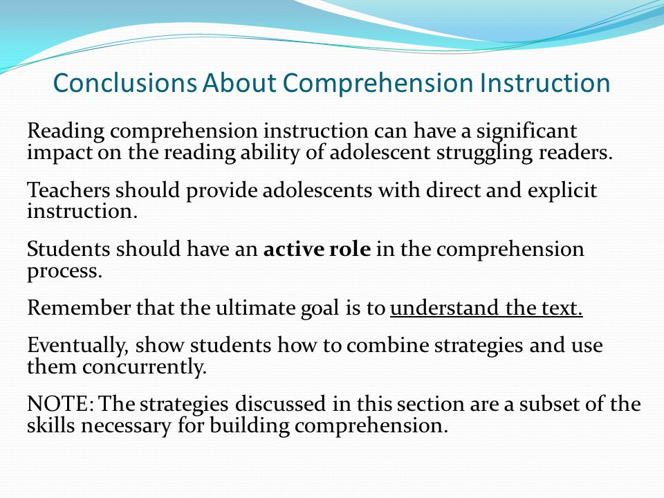 Conclusions About Comprehension Instruction