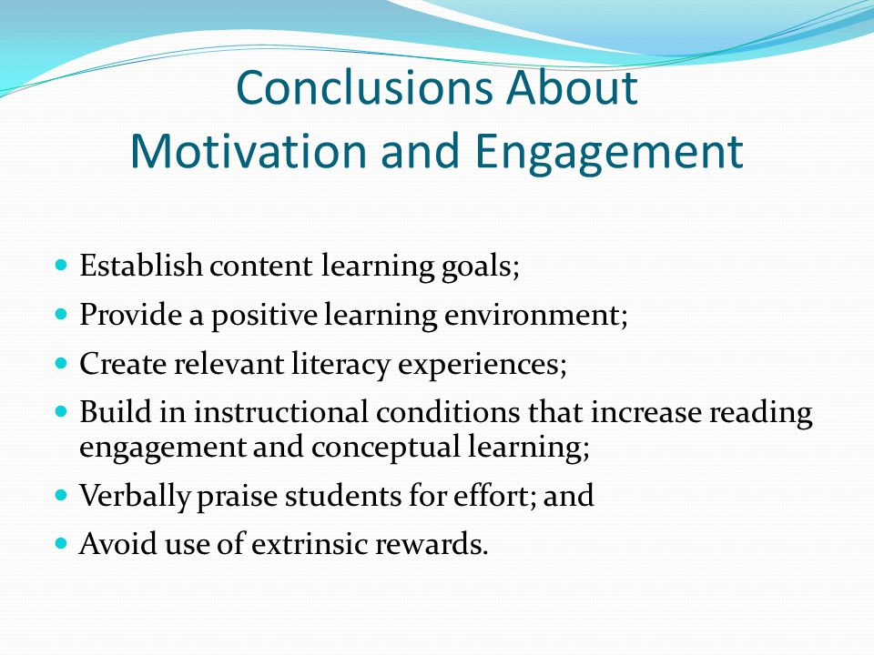Conclusions About Motivation and Engagement