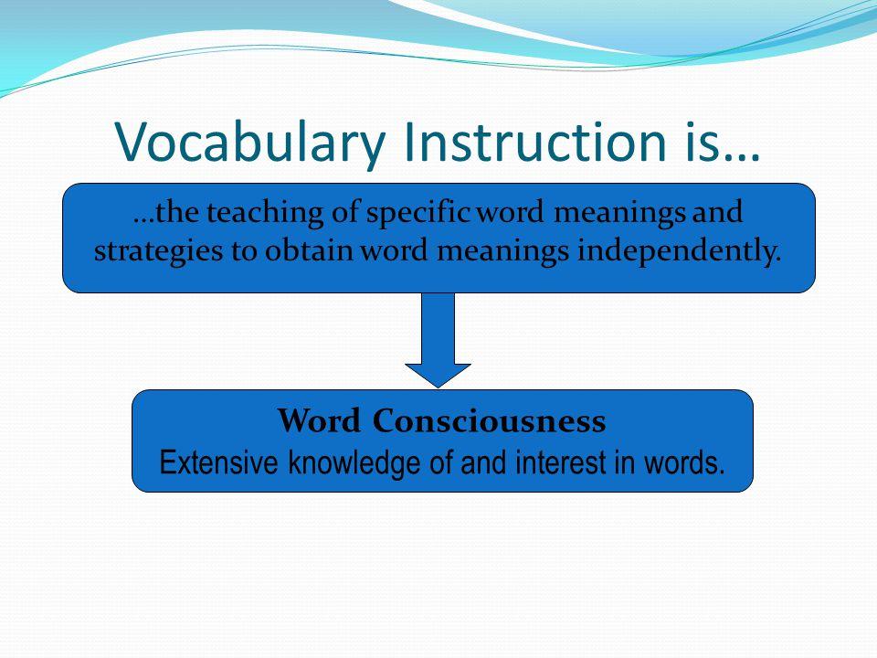 Vocabulary Instruction is…