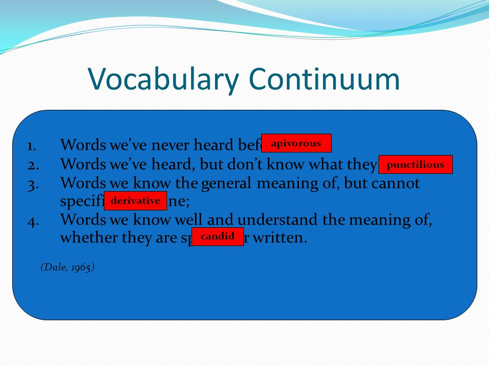 Vocabulary Continuum 1. Words we've never heard before;