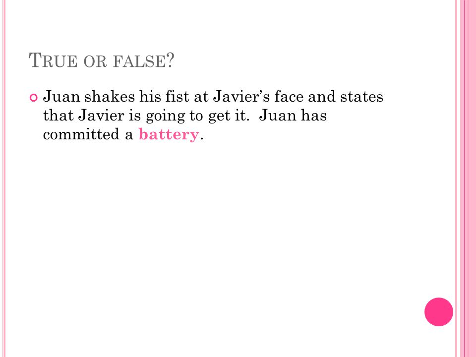 True or false. Juan shakes his fist at Javier's face and states that Javier is going to get it.