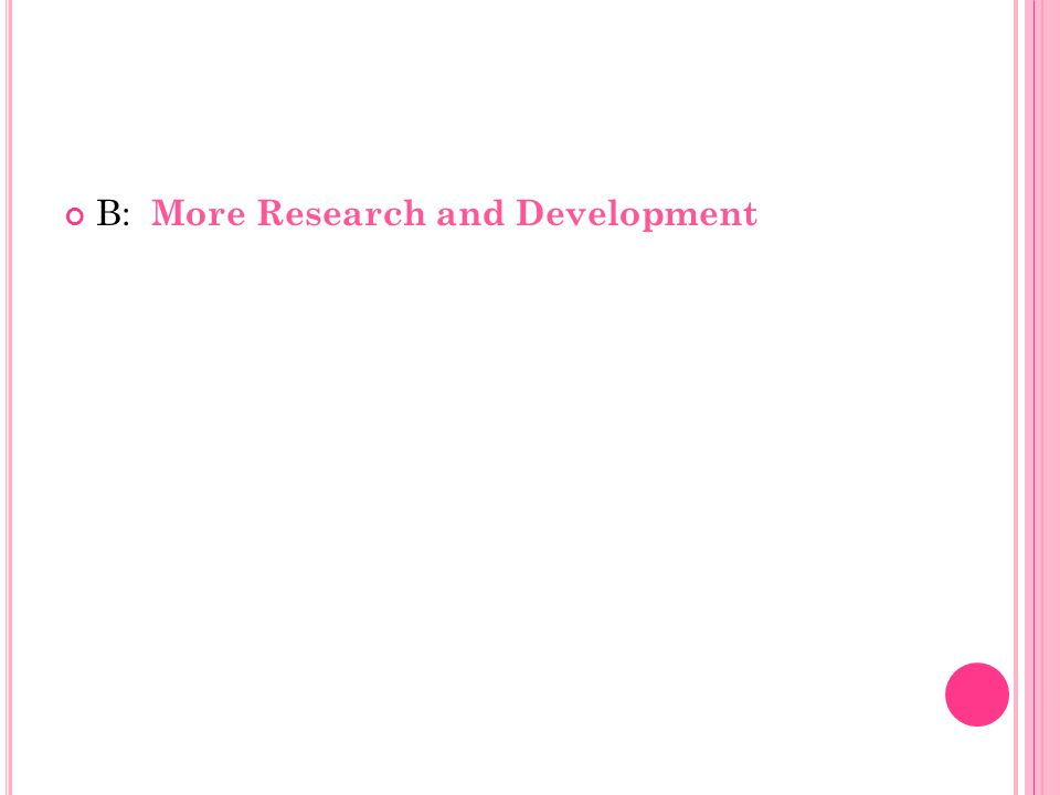 B: More Research and Development