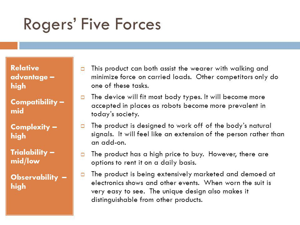 Rogers' Five Forces Relative advantage – high Compatibility – mid