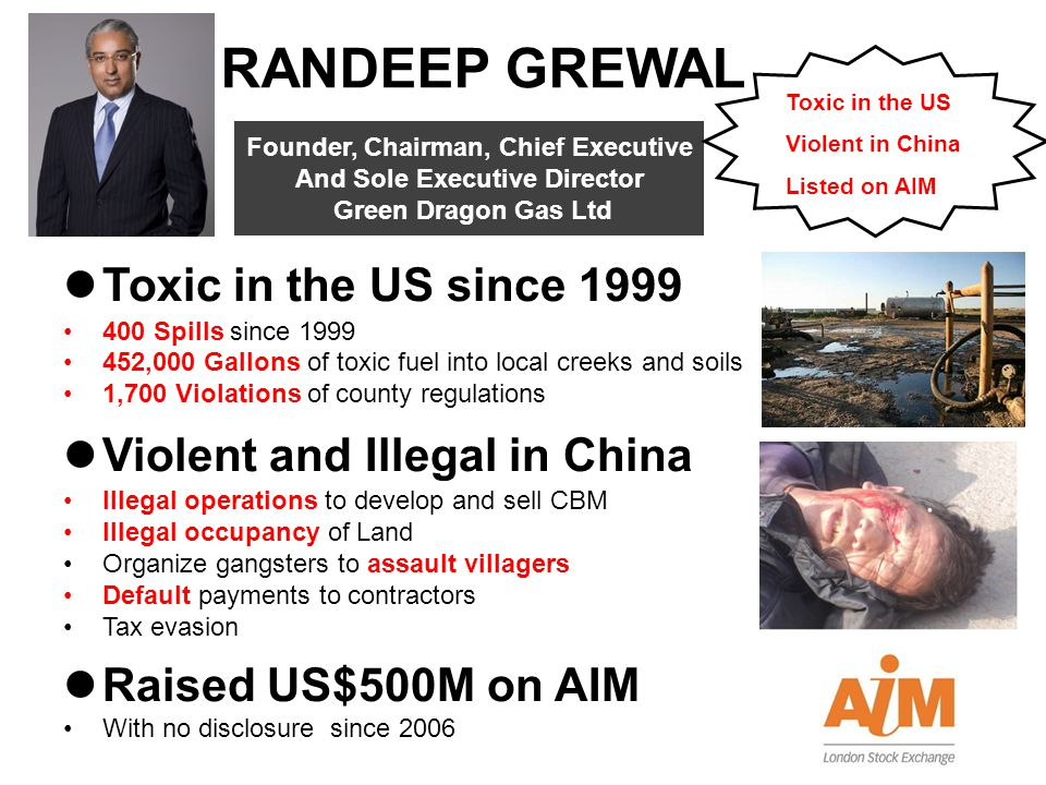 RANDEEP GREWAL Toxic in the US since 1999 Violent and Illegal in China
