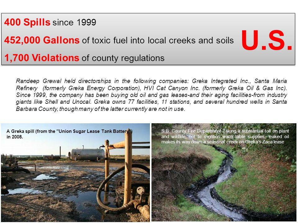 400 Spills since 1999 452,000 Gallons of toxic fuel into local creeks and soils 1,700 Violations of county regulations
