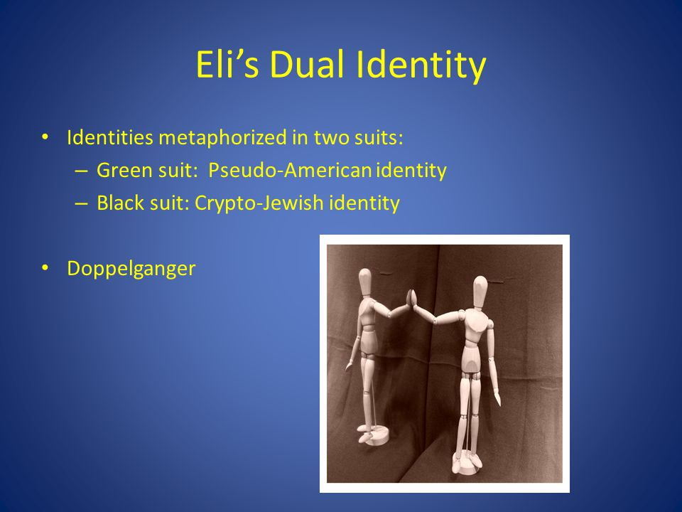 Eli's Dual Identity Identities metaphorized in two suits:
