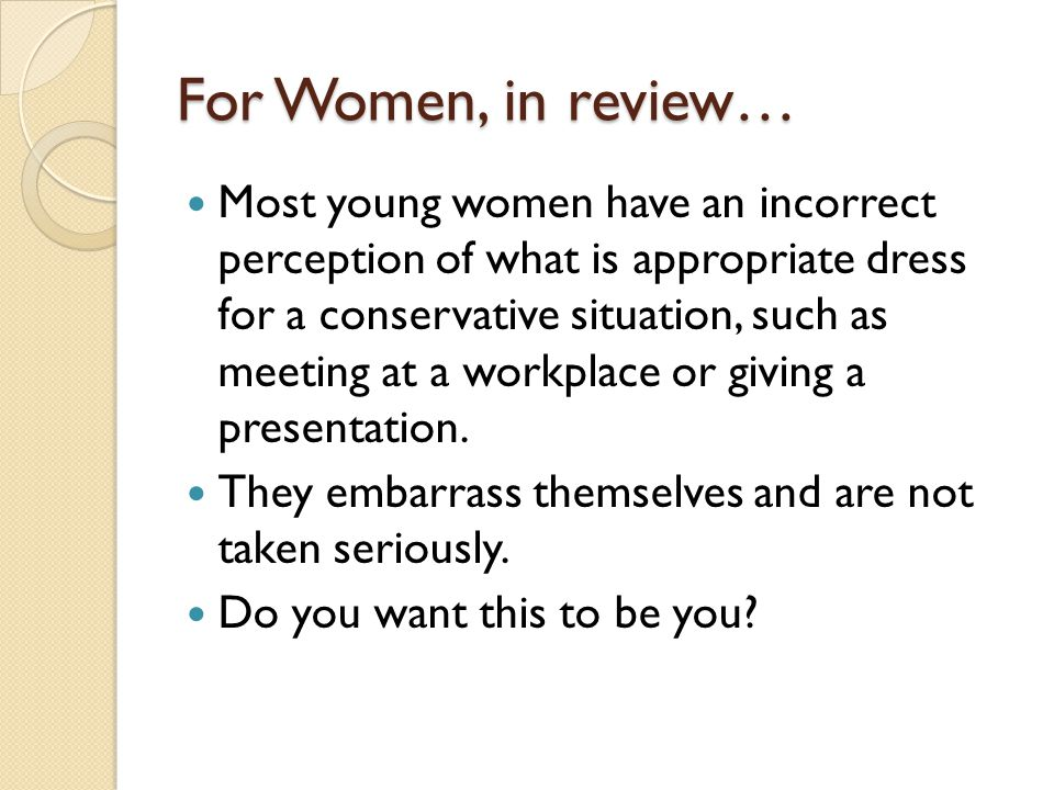 For Women, in review…