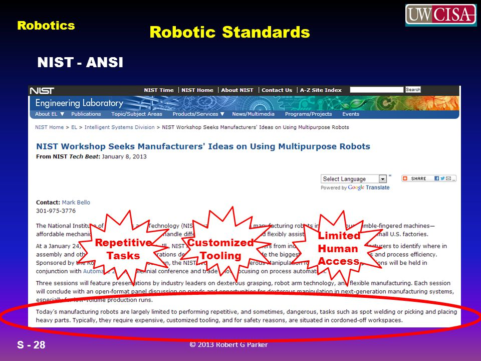 Robotic Standards NIST - ANSI Customized Tooling Repetitive Tasks