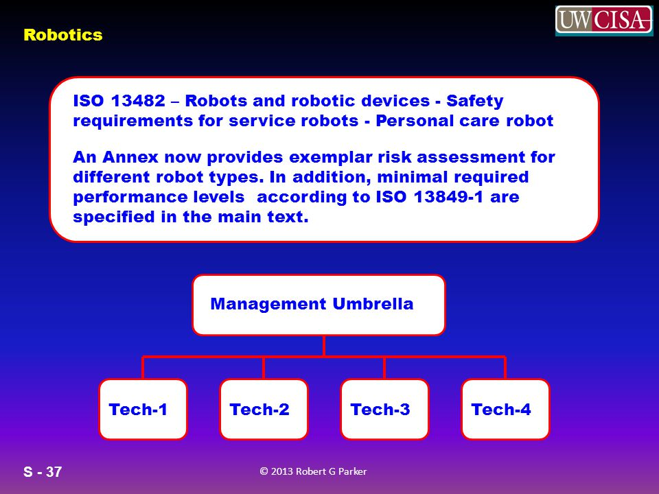 ISO 13482 – Robots and robotic devices - Safety requirements for service robots - Personal care robot