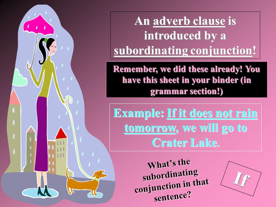 If An adverb clause is introduced by a subordinating conjunction!