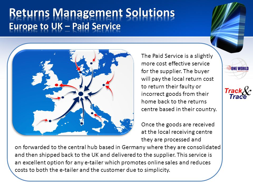 Returns Management Solutions Europe to UK – Paid Service