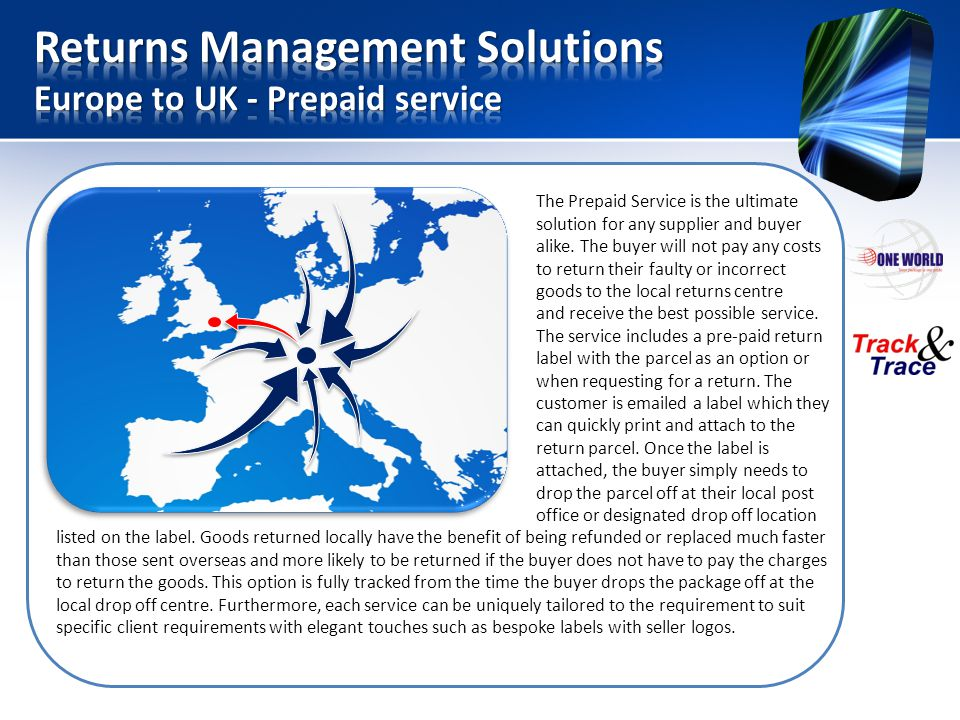 Returns Management Solutions Europe to UK - Prepaid service