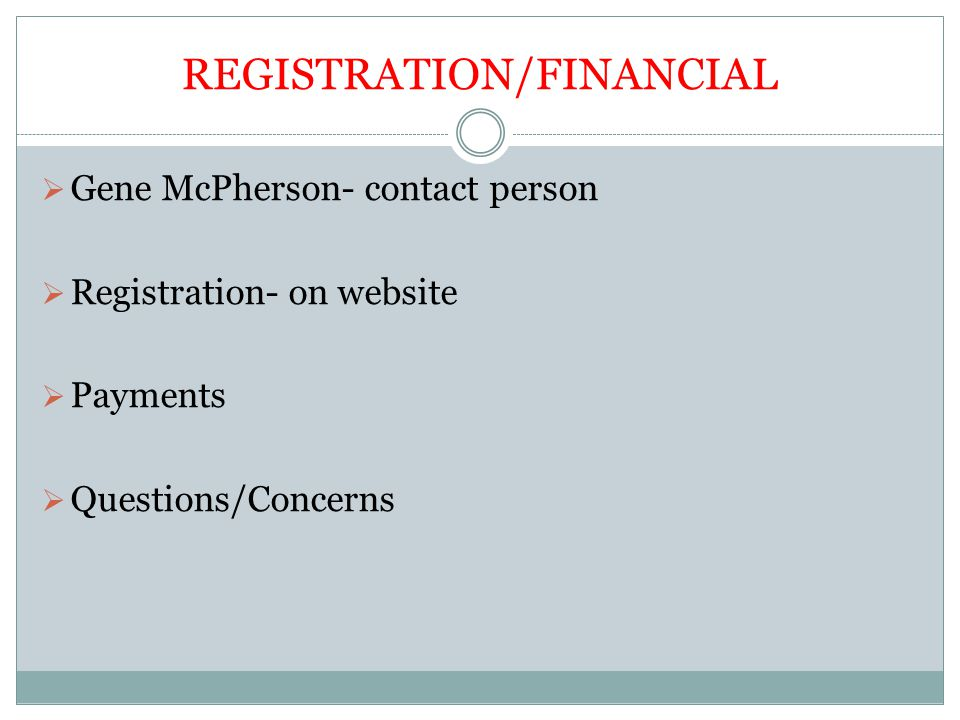 REGISTRATION/FINANCIAL