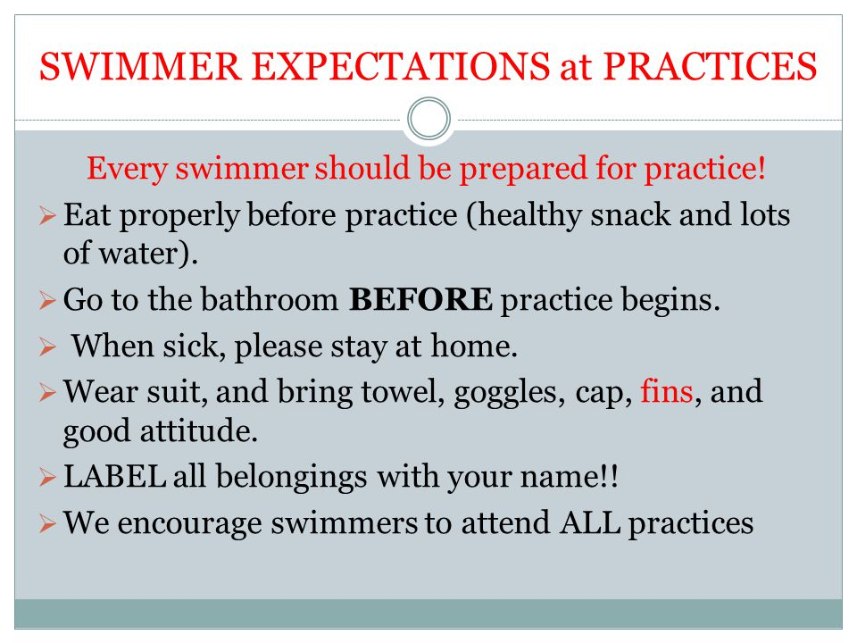 SWIMMER EXPECTATIONS at PRACTICES