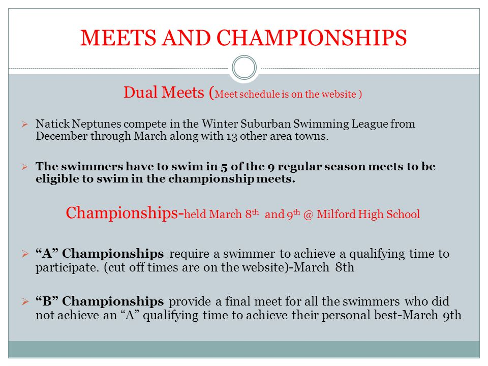 MEETS AND CHAMPIONSHIPS