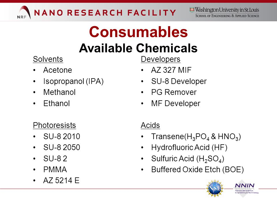 Consumables Available Chemicals Solvents Developers Acetone AZ 327 MIF
