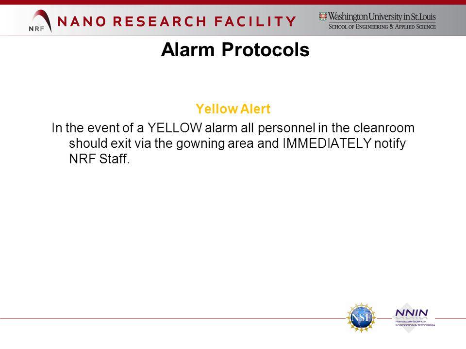 Alarm Protocols Yellow Alert