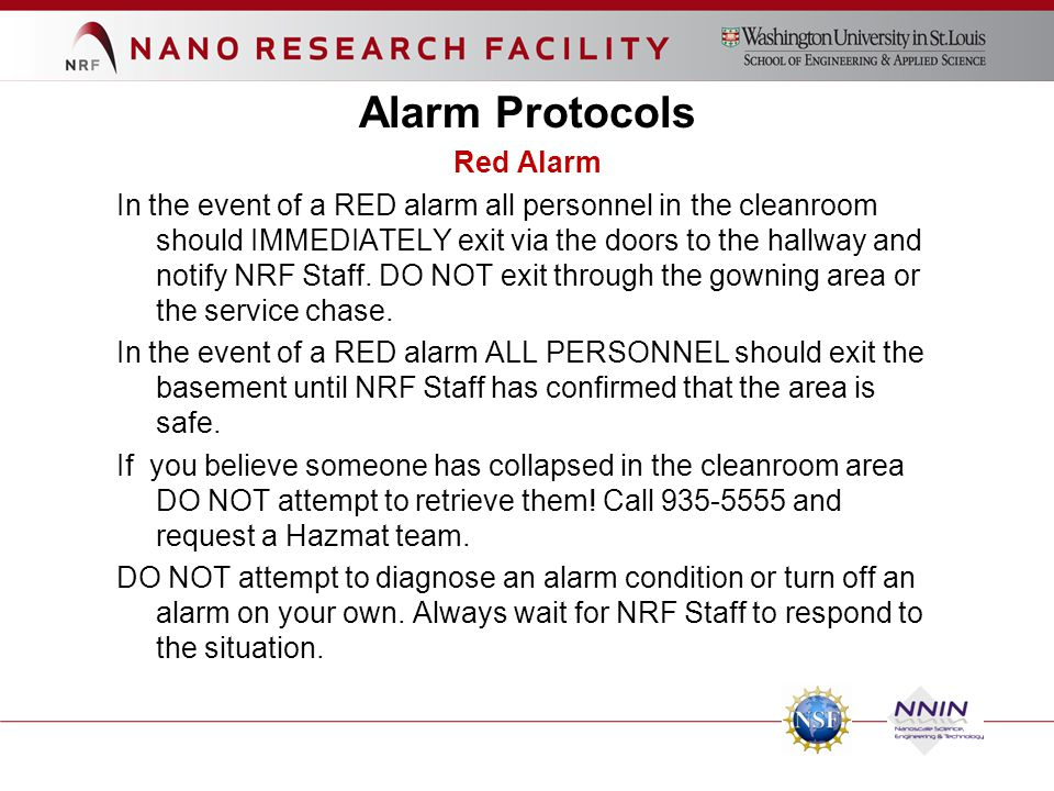Alarm Protocols Red Alarm