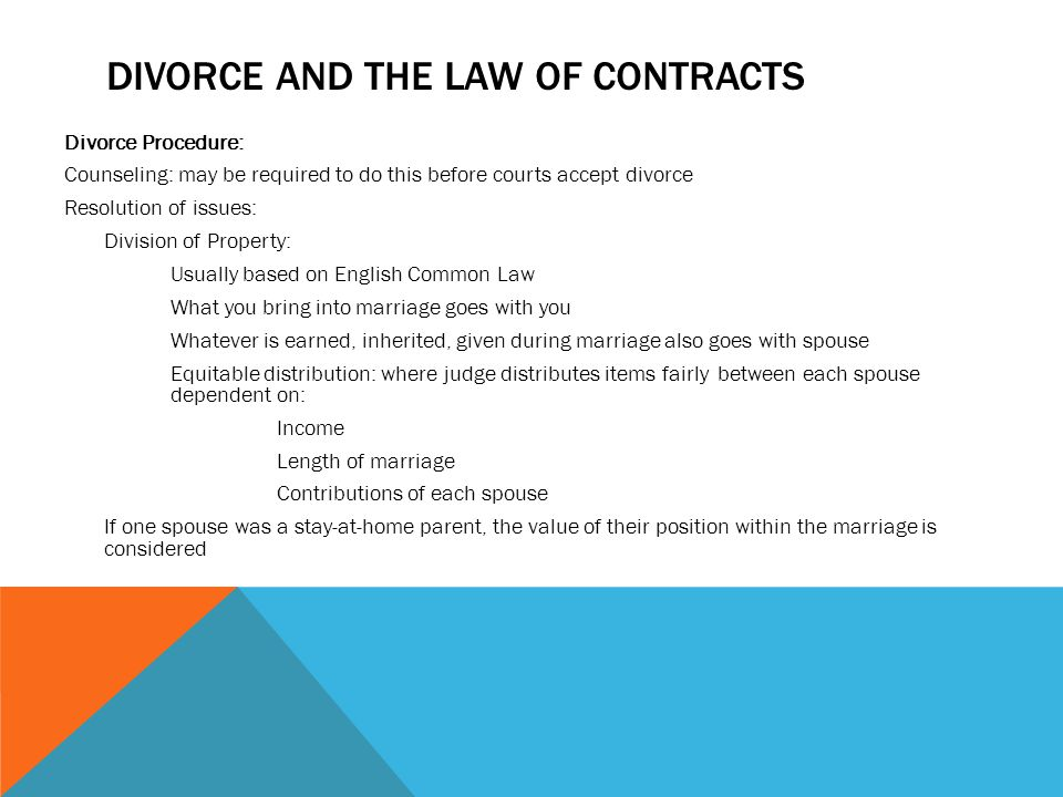 Divorce and the law of contracts