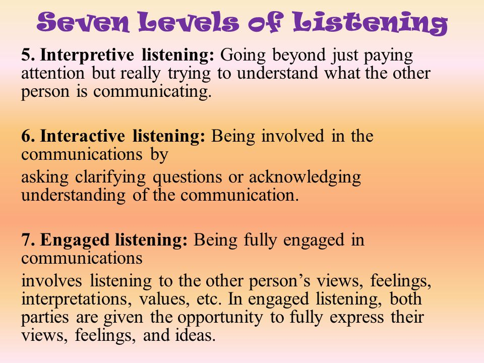 Seven Levels of Listening