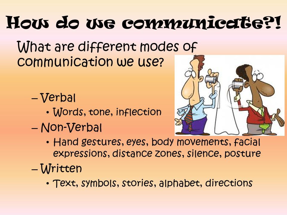 How do we communicate ! What are different modes of communication we use Verbal. Words, tone, inflection.