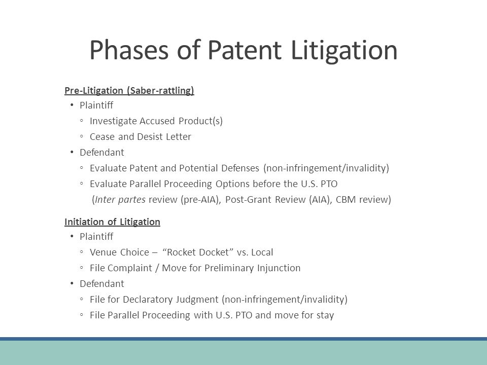 Phases of Patent Litigation