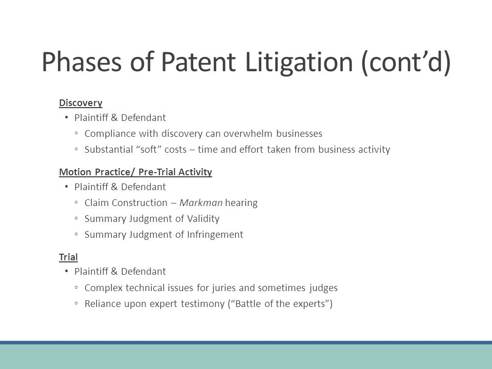 Phases of Patent Litigation (cont'd)