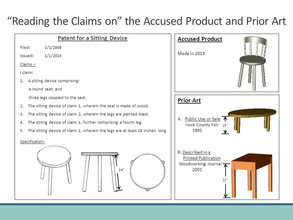Reading the Claims on the Accused Product and Prior Art