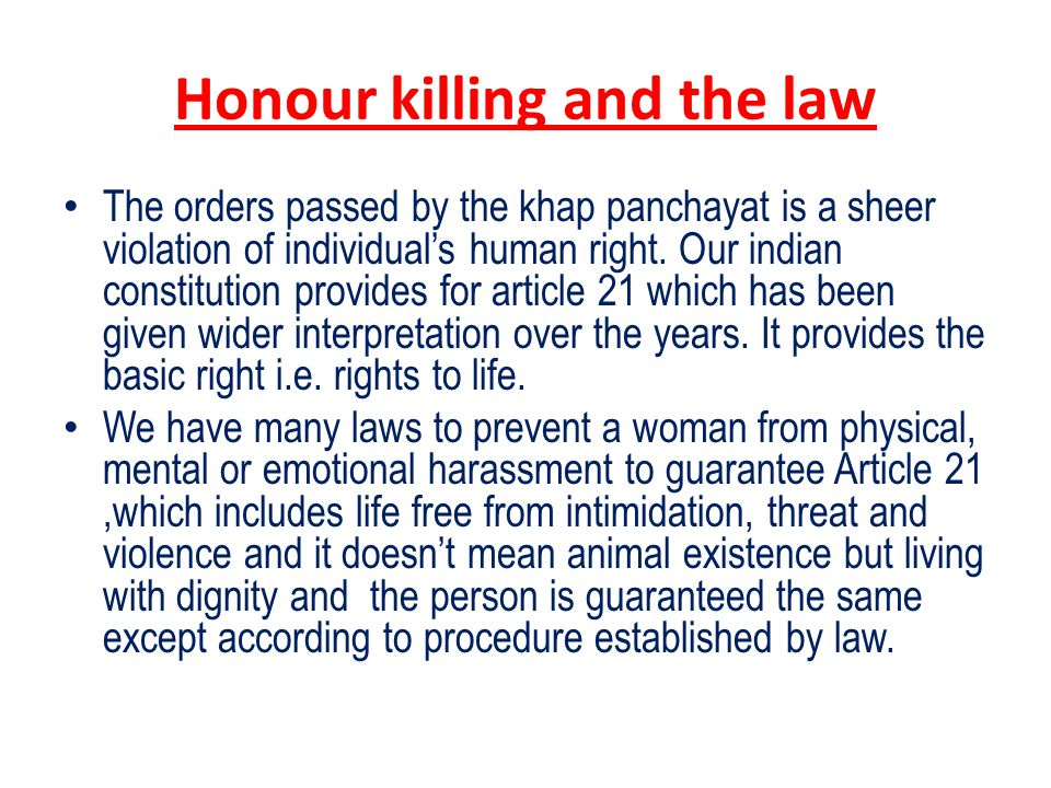 Honour killing and the law