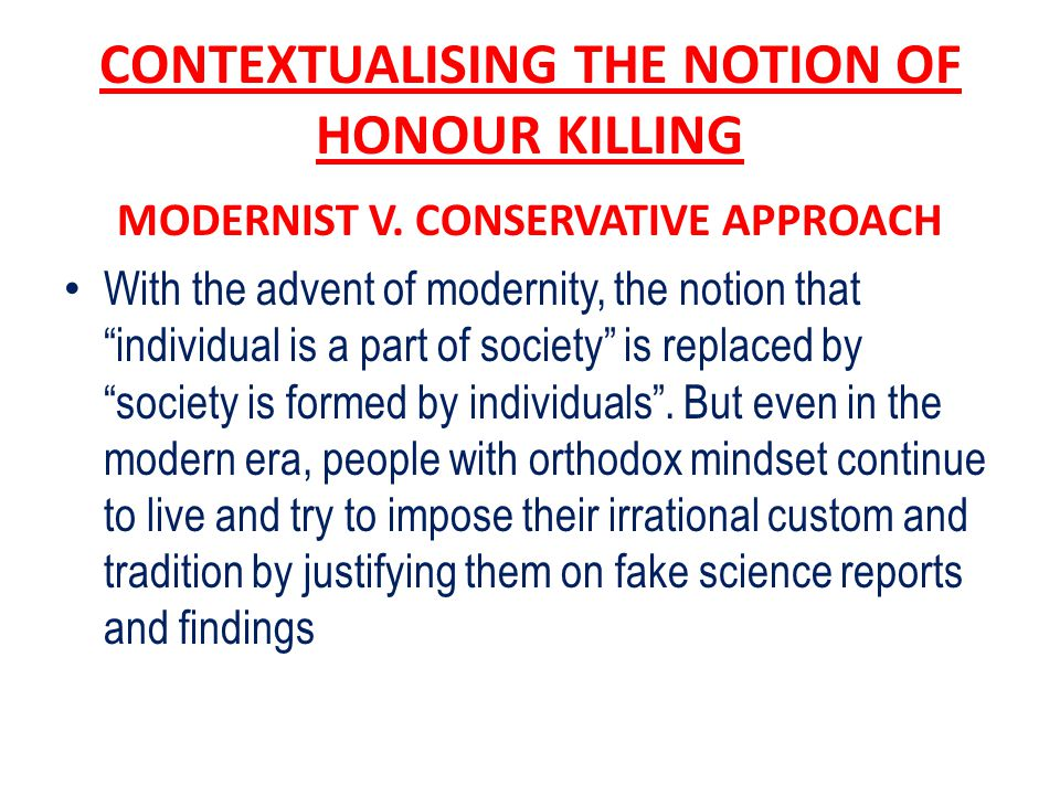 CONTEXTUALISING THE NOTION OF HONOUR KILLING