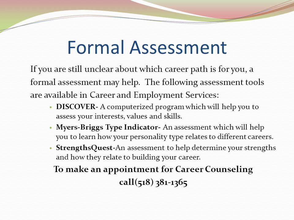 To make an appointment for Career Counseling