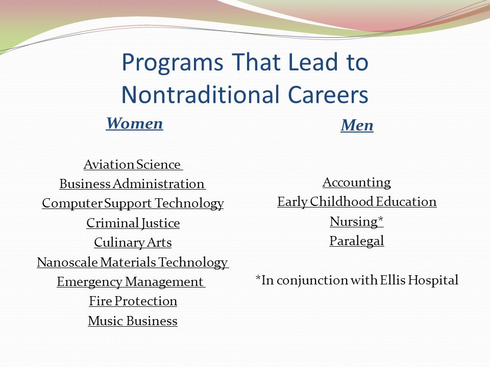 Programs That Lead to Nontraditional Careers